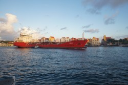 AZRA-S ship moves past Queen Emma Bridge in Williamstad Curacao.jpg