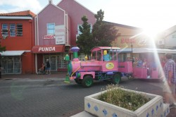 Atlantis Adventures pink tour train at Punda Willemstad Curacao.jpg