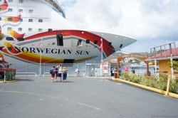 Front of Norwegian Sun cruise ship docked at St Thomas.jpg
