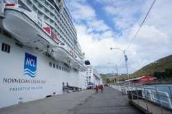 Long pier at St Thomas where Norwegian Epic and Norwegian Sun docked.jpg