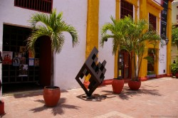 Cubic diamond sculpture in front of La Tienda Del Museo in Cartagena Colombia.jpg