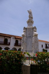 La Nina ship inscribed on Christopher Columbus statue at Plaza de la Aduana in Cartagena Colombia.jpg