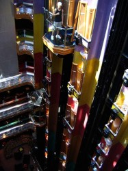 Carnival Glory elevators lit up.jpg