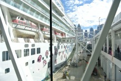 View of Norwegian Gem from boarding ramp in Inside Manhattan Cruise Terminal New York.jpg
