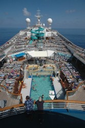 View of the pool deck with water slide on the Carnival Conquest.jpg