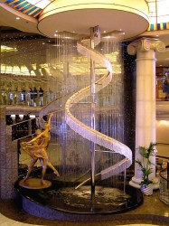 The fountain in the Crystal Plaza atrium on Crystal Deck of the Symphony cruise ship.jpg