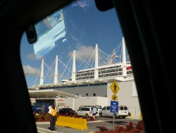 The busy cruise port of Miami
