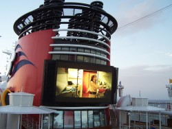 Big outdoor movie screen on the Disney Magic Cruise Ship.jpg
