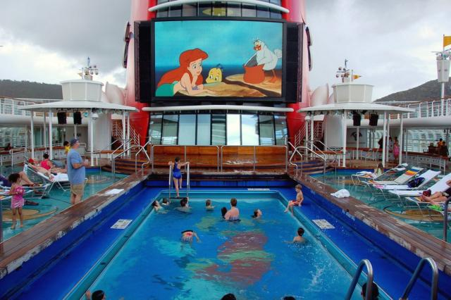 View Of The Big Screen From The Goofy Pool Aboard The