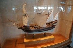 Spanish Galleon ship model by David Fawcett inside Explorer of the Seas Gym.jpg