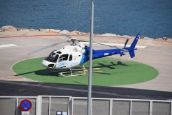 Cat Helicopter parked at Barcelona Cruise Port.jpg