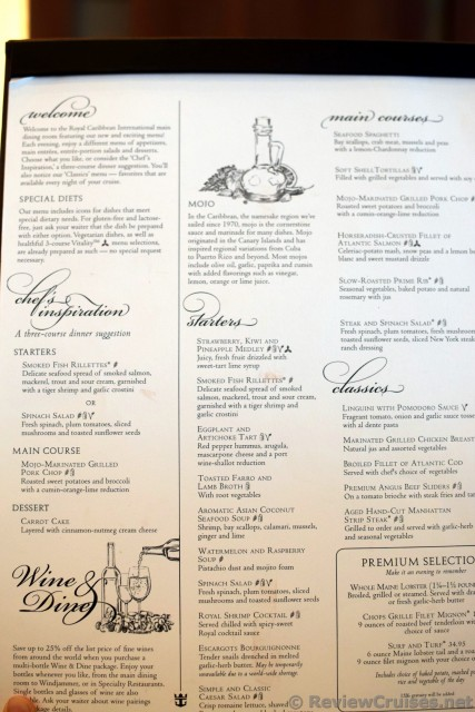 oasis of the seas day 1 menu for dinner @ main dining room hi