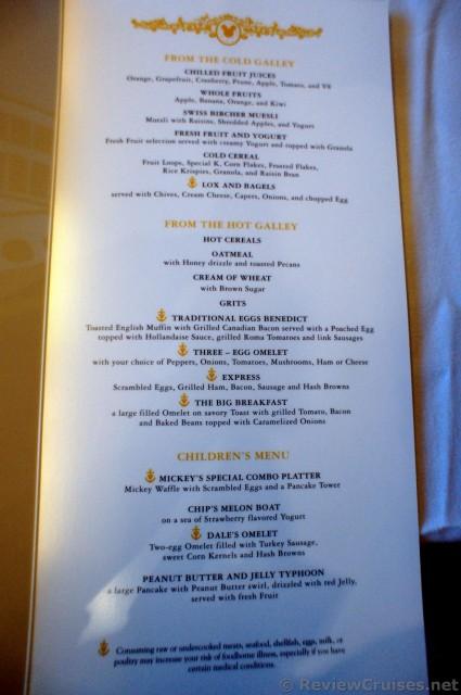 Disney Wonder Breakfast Menu At Triton With Eggs Benedict