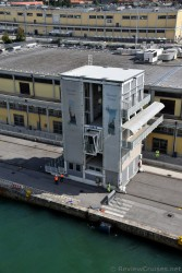 Cruise Ship Passenger Ramp being readied at Port of Venice.jpg