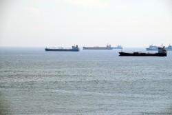 Container Ships and Oil Tankers off of coast of Barcelona.jpg