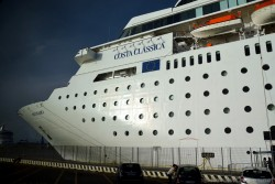 Bow of Costa NeoClassica Cruise Ship Docked at Civitavecchia Port.jpg