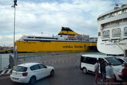Corsica Ferries Mega Express Three & Norwegian Spirit Cruise Ship docked in Livorno Italy.jpg