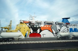 Moby Vincent Ferry Ship with Looney Toons Characters Hull Art.jpg