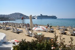 Beach Chairs @ Kusadasi Beach Overlooking Ocean & Cruise Ships.jpg