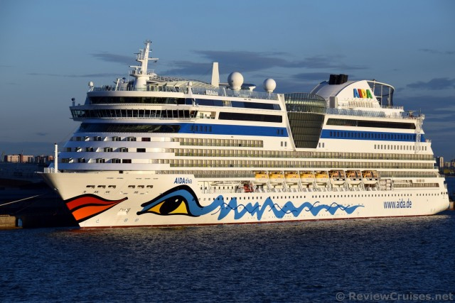 AIDA Diva Full Port Side View Of Cruise Ship