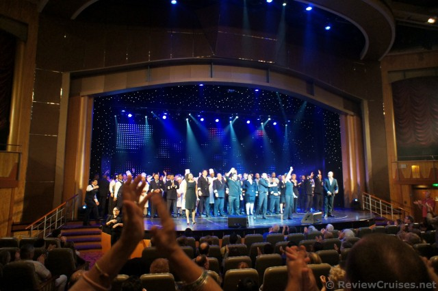 Royal Caribbean Explorer of the Seas staff gather on stage and receive applause.jpg