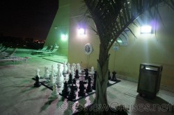 Hilton Downtown Miami restaurant chess board next to pool.jpg