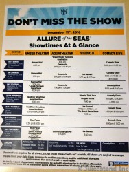 Royal Caribbean Allure of the Seas Sample Entertainment Schedule