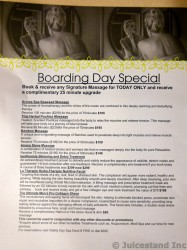 Royal Caribbean Boarding Day Massage Special