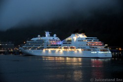 Colorful Lights of Seabourn Sojourn at Night