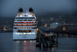 Stern of Seabourn Sojourn docked in Juneau at Night