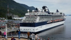 Celebrity Millennium in Ketchikan Alaska Seen from Holland America Amsterdam