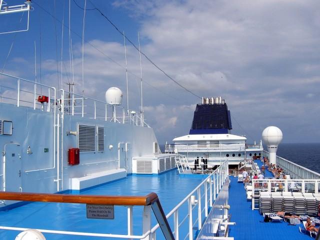 The norwegian sun deck 13 looking aft