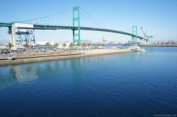 Looking out at Vicent Thomas Bridge and Port of Los Angeles from the Disney Wonder.jpg