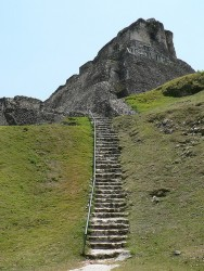 Xunantunich Mayan Ruins Excursion Stone Stairs to top of Temple.jpg