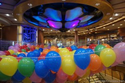 Baloons below chandelier of atrium of Caribbean Princess.jpg