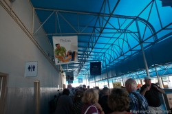 Line outside terminal at Port Everglades Cruise Port waiting to board Caribbean Princess.jpg