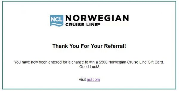 Ncl 500 Gift Card Contest