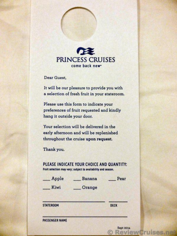 Princess Cruises Stateroom Breakfast Menu