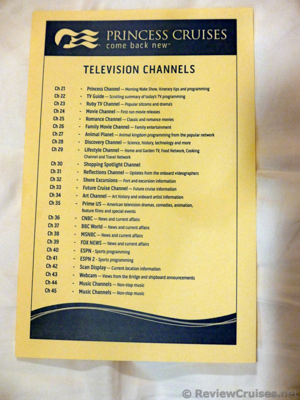 Princess Cruises TV Channels Listing (Updated)