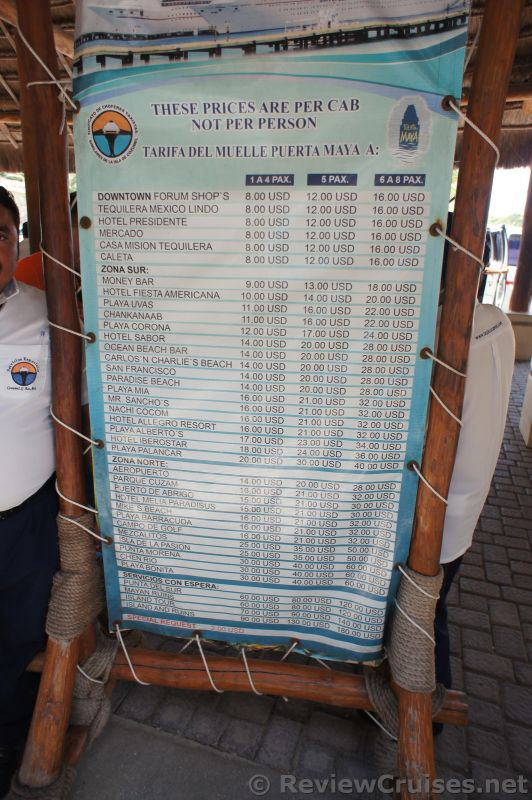 cozumel puerta maya taxi rates from port 2014